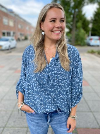 Helene | Blouse Print Blauw PRE-ORDER 04-08